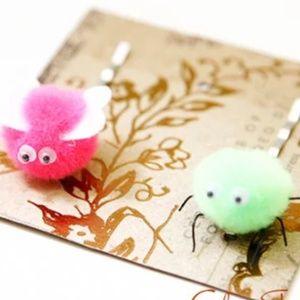 Fuzzy Bugs Hair Pins, Kids Hair Pins, Handmade 🌸